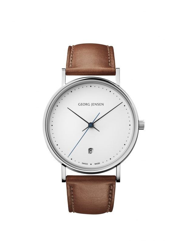georg jensen koppel 38 mm white dial tan strap watch