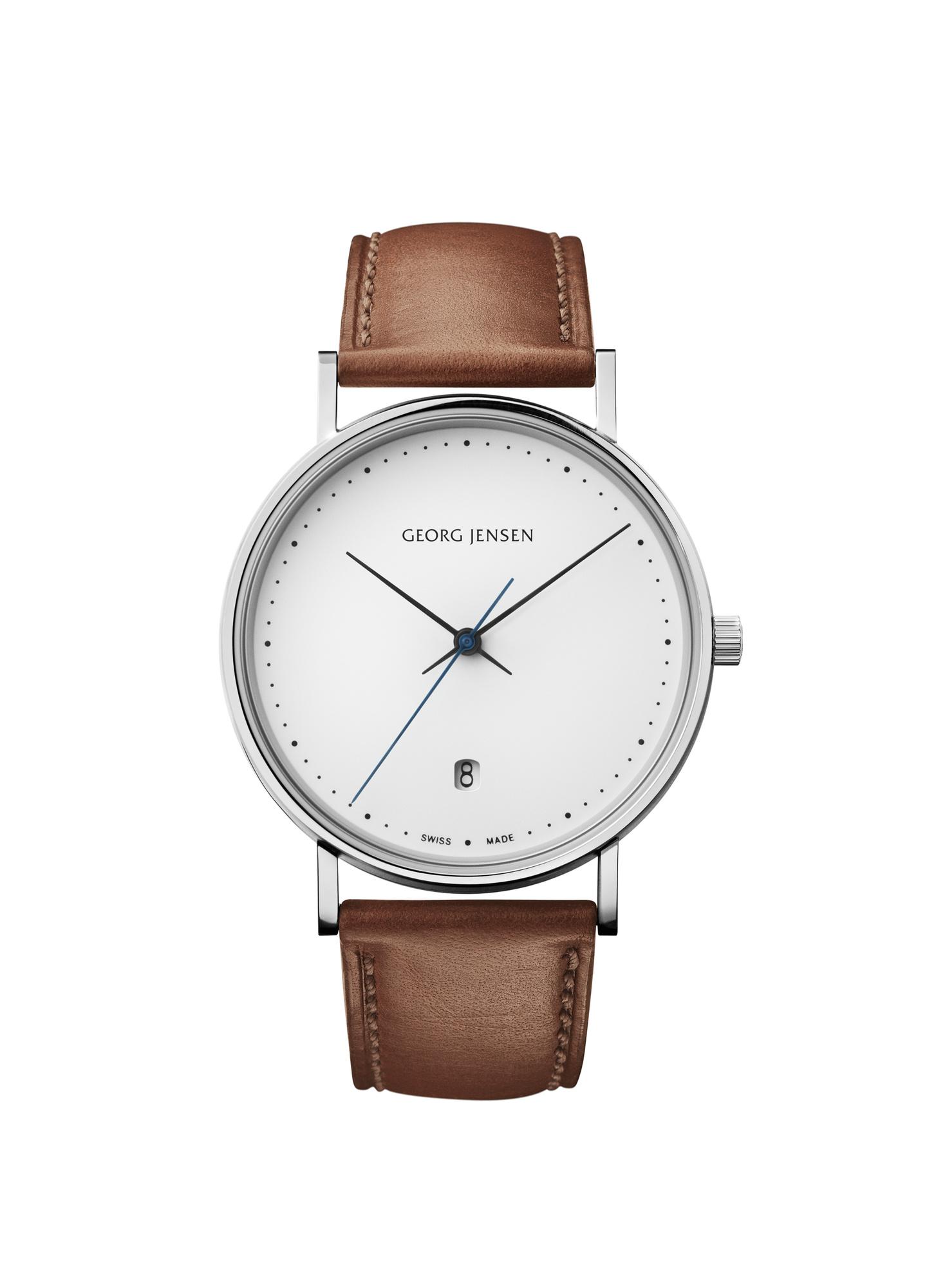 georg jensen koppel 38 mm white dial tan strap watch