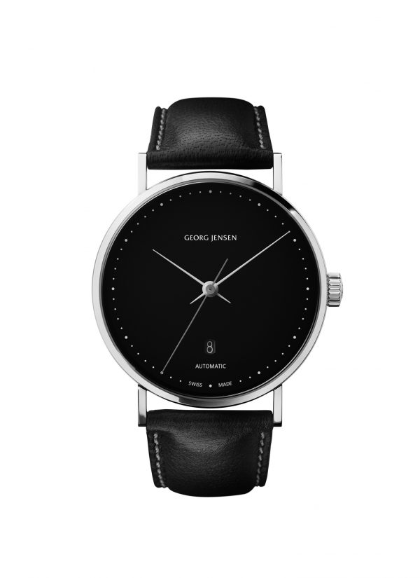 georg jensen koppel black dial black strap 41mm gents watch