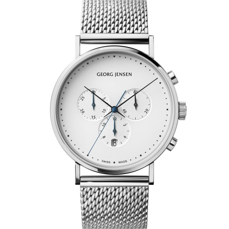 georg jensen koppel 41 mm chronograph white dial steel bracelet watch