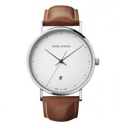 georg jensen koppel 41 mm white dial brown strap watch