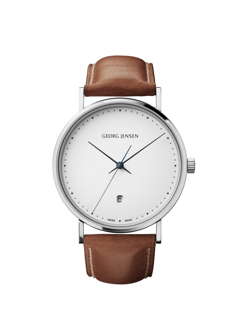 georg jensen koppel 41 mm white dial brown strap watch