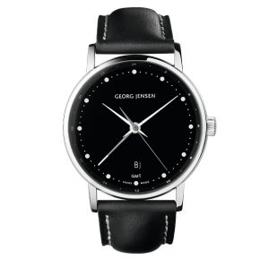 georg jensen koppel 519 duel time watch with black dial and strap