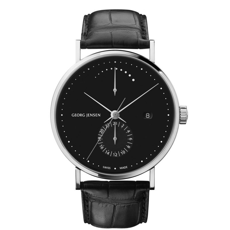 georg jensne koppel 41 mm black power reserve dial automatic watch