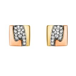 Georg Jensen Fusion gold and pave' diamond set Earrings