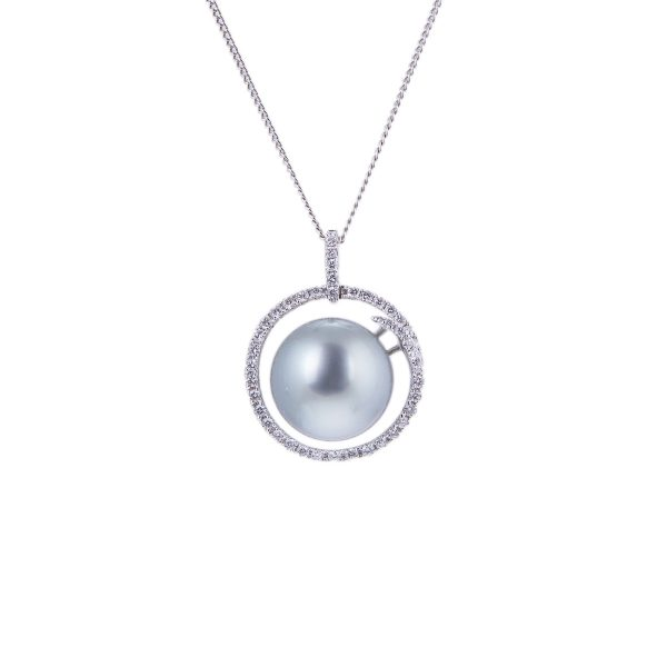 silver grey tahitian pearl and diamond pendant in 18ct white gold