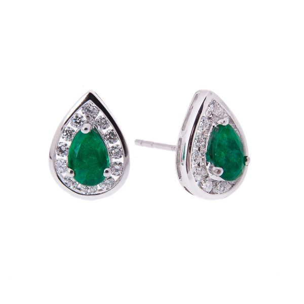 18ct white gold pear cut emerald stud earrings with a diamond set halo surround