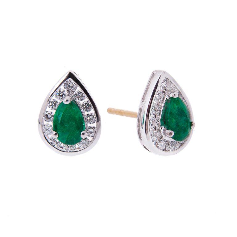 halo set pear cut emerald and diamond stud earrings yellow H 36