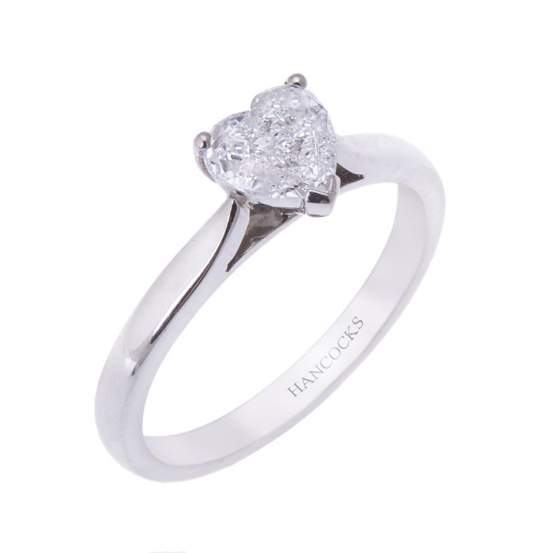 platinum heart shaped diamond engagement ring