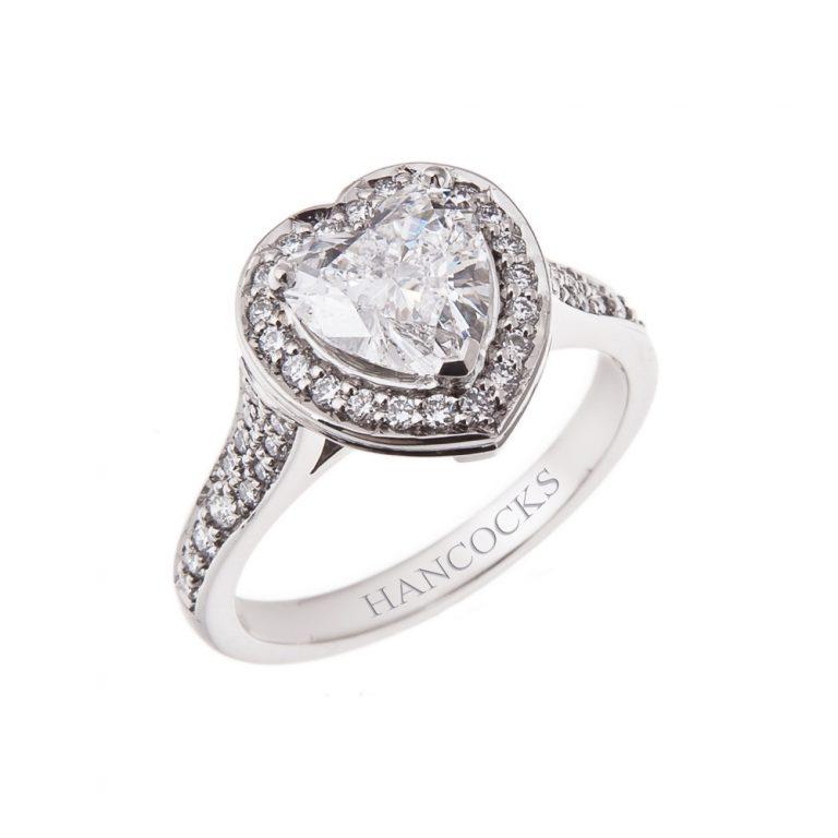 platinum halo set heart shaped diamond cluster ring