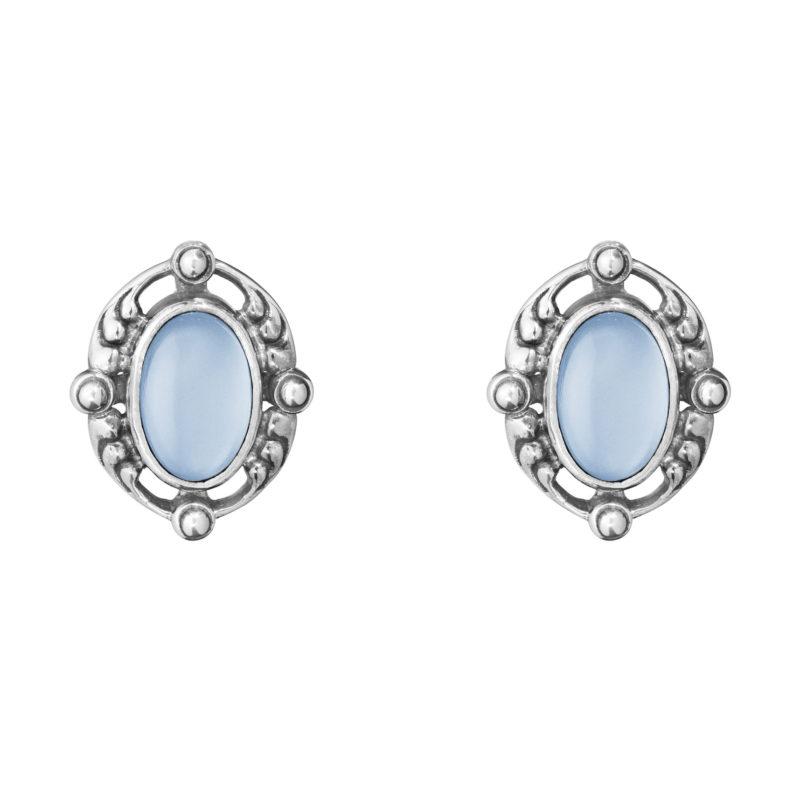 georg jensen heritage 2018 blue chalcedony clip earrings