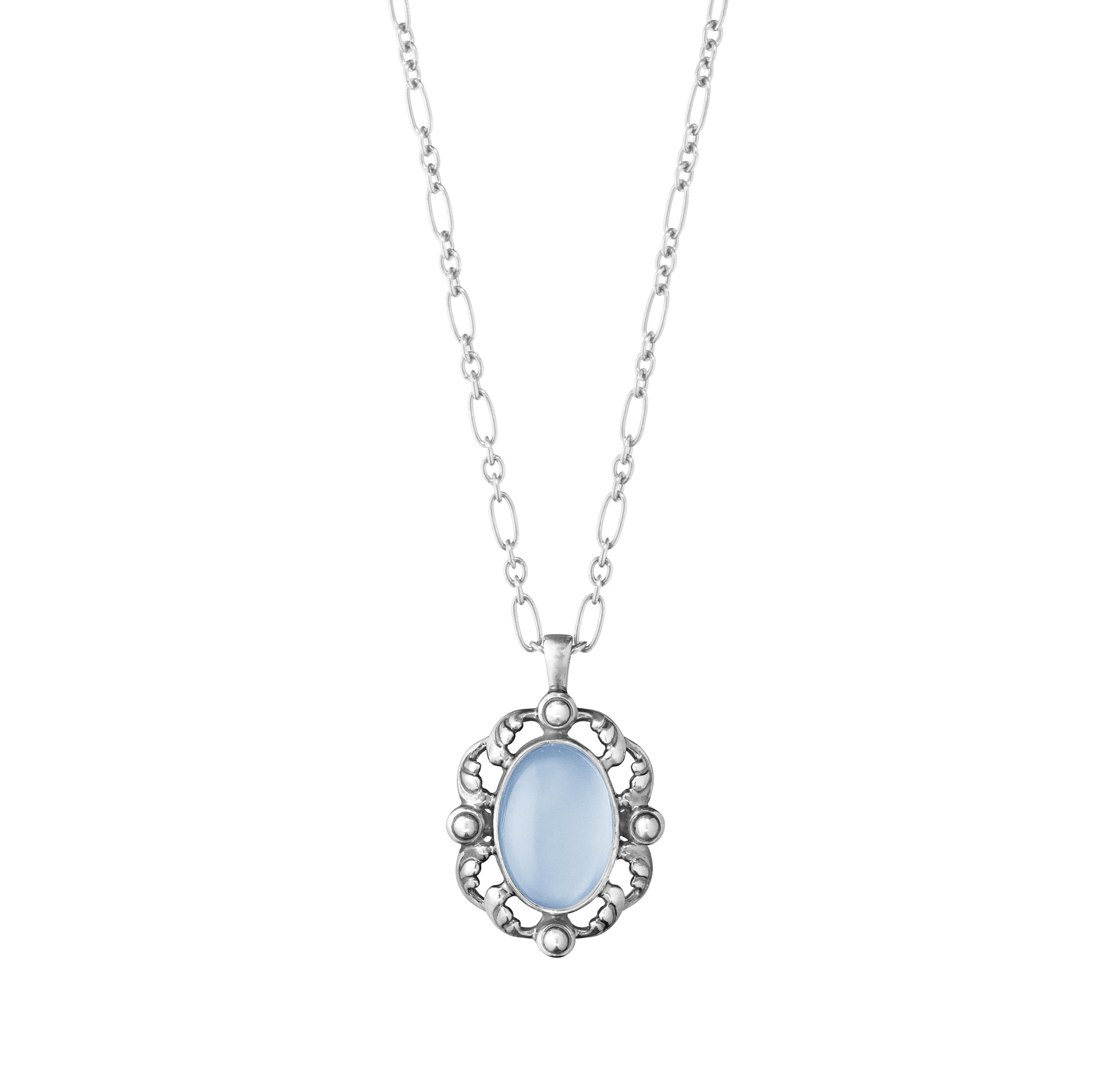 georg jensen heritage 2018 blue chalcedony and silver pendant