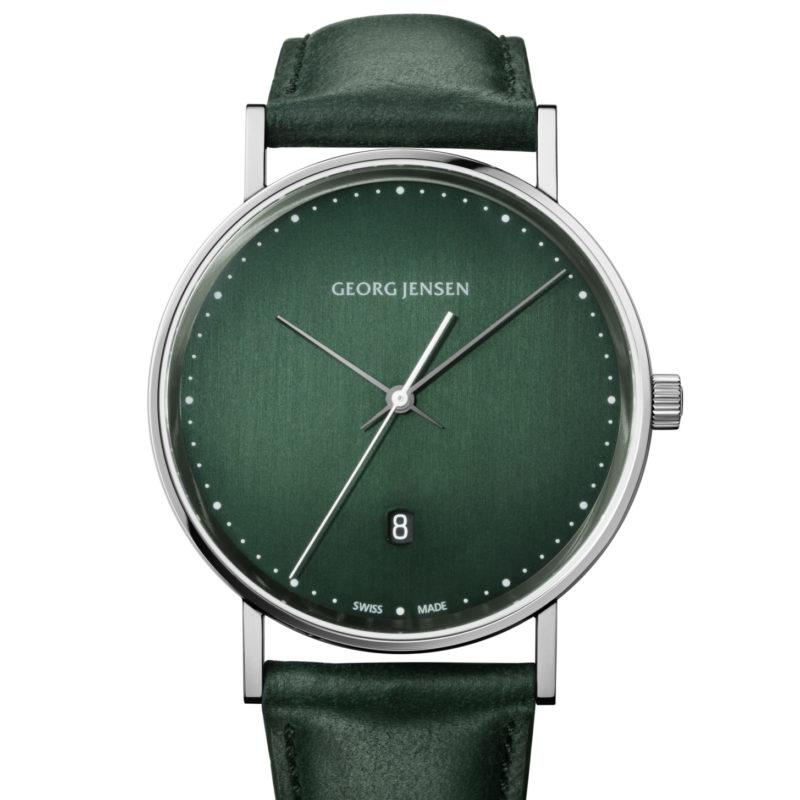 georg jensen koppel green dial and green strap watch