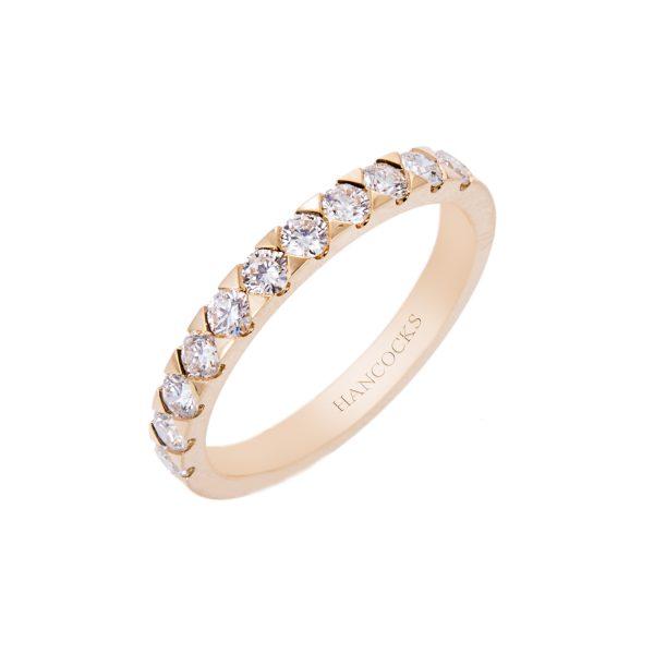 brilliant cut diamond set half eternity ring