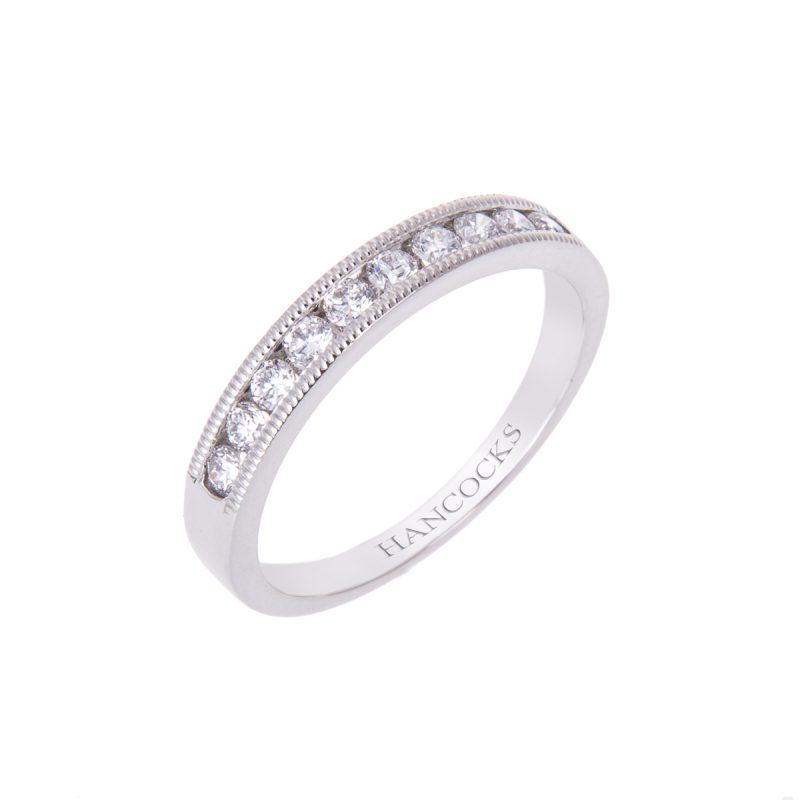 brilliant cut diamonds set in a fine bead edgeing