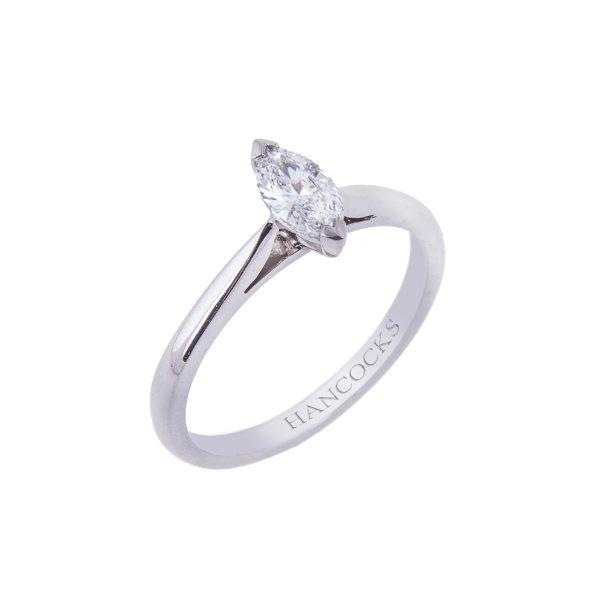 platinum marquise cut diamond solitaire ring