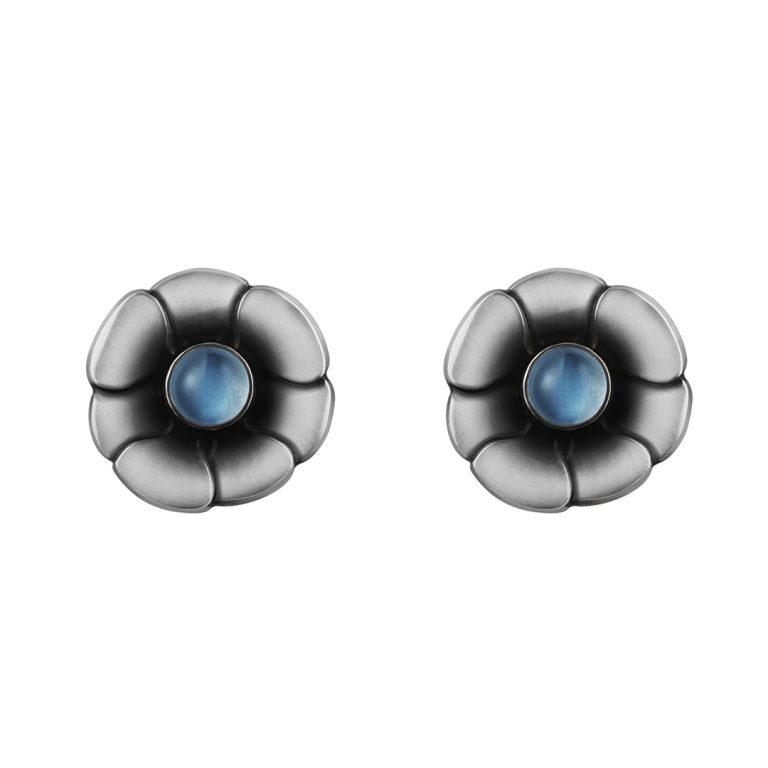 moonlight blossom moonstone georg jensen silver earrings