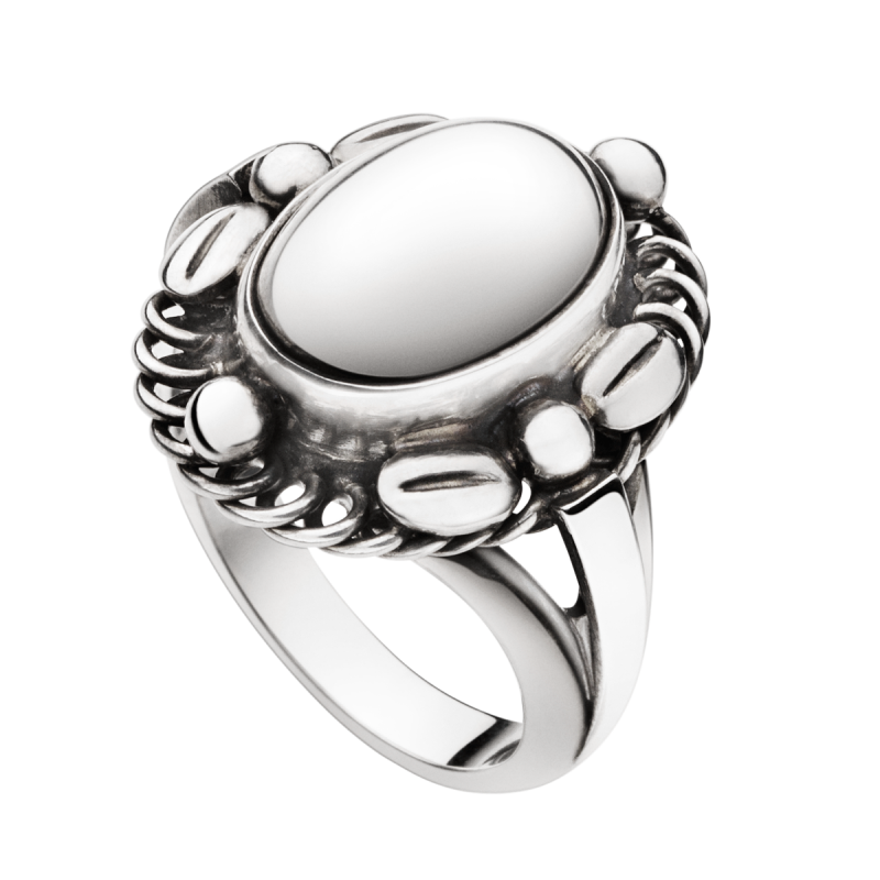 georg jensen moonlight blossom silver oval ring