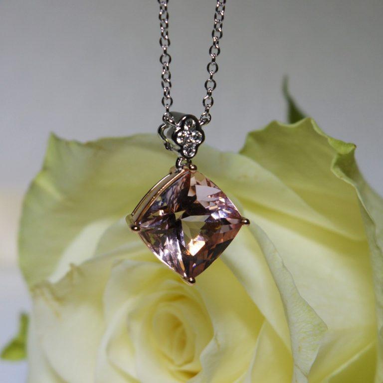 morganite and diamond pendant hancocks manchester