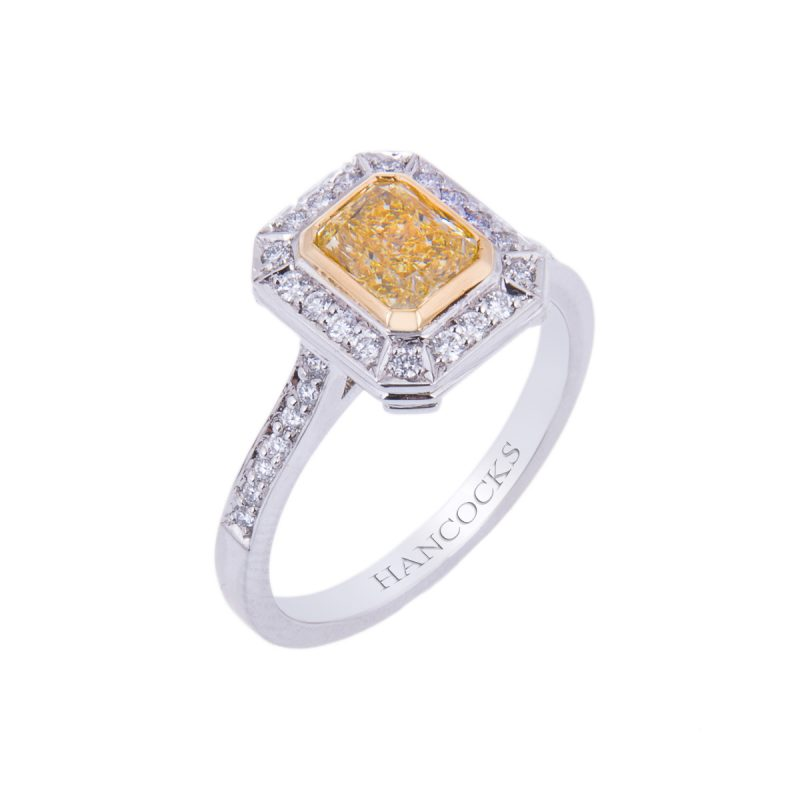 certificated platinum yellow diamond cluster ring