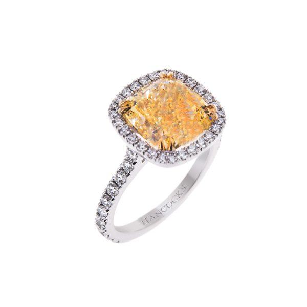 gia certificated natural fancy intense yellow diamond ring