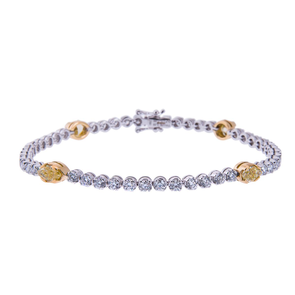 18ct-white-gold-yellow-diamond-and-brilliant-cut-diamond-line-bracelet
