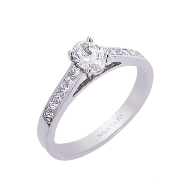 platinum oval diamond single stone ring