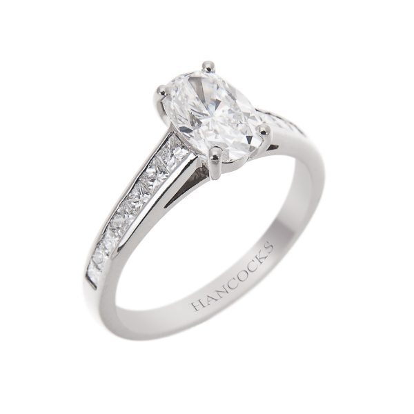 oval diamond single stone engagement ring in platinum