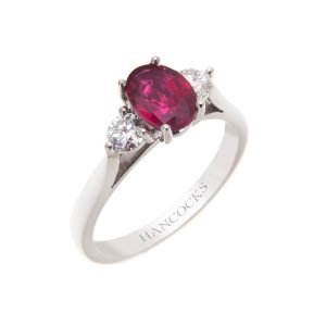 ruby and diamond claw set 3-stone ring