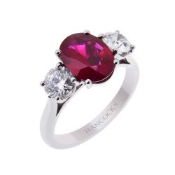 oval ruby and diamond three stone ring from hancocks manchester 2H 31 improved 2