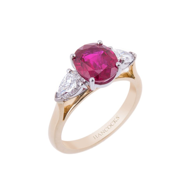 18ct yellow gold oval ruby and pear cut diamond 3-stone ring