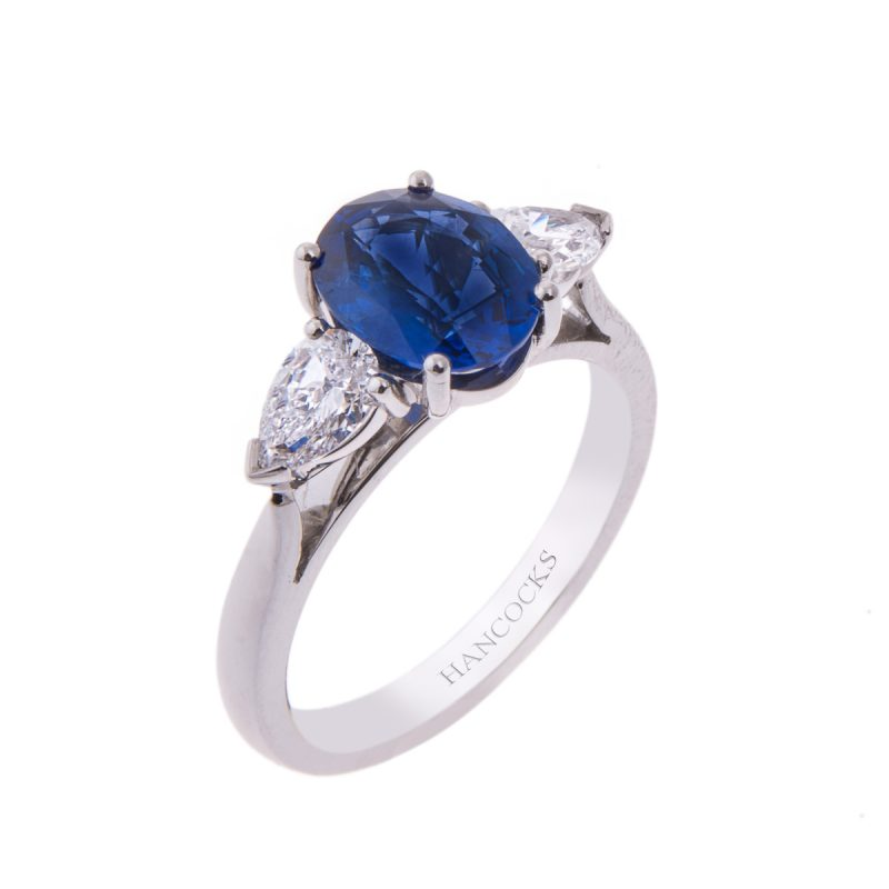 rich velvety oval blue sapphire and diamond ring