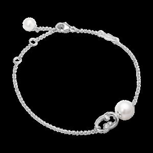 georg jensen magic white gold and diamond set single pearl bracelet