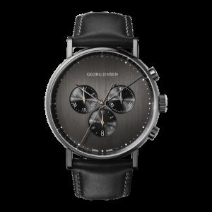 georg jensen koppel chrongraph gun metal grey dial watch