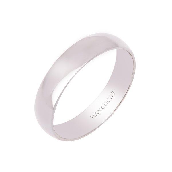 gents polished 5mm d section palladium wedding ring