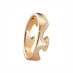 pave set rose gold diamond line fusion ring