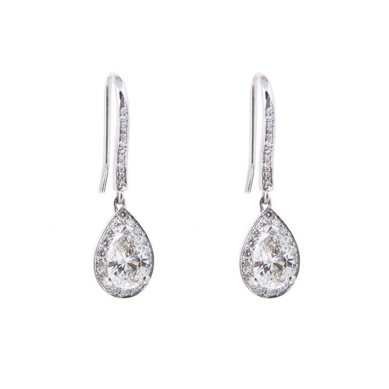 18ct white gold pear cut diamond drop earrings