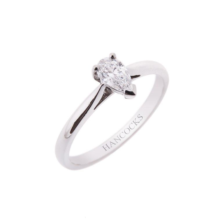 platinum pear cut diamond single stone ring