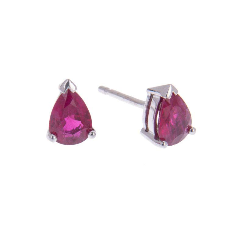 pear cut ruby single stone studs H1200 14