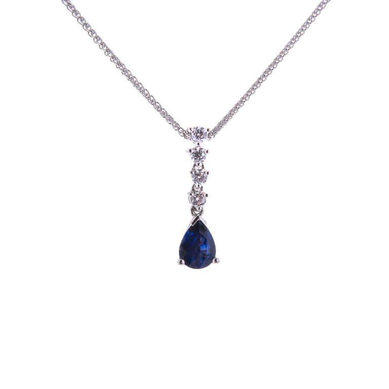 pear cut sapphire and diamond drop pendant and 18ct gold chain