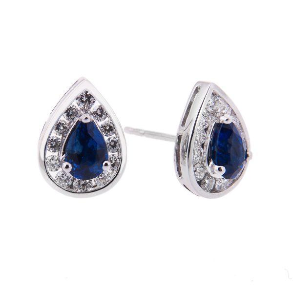 halo set pear cut sapphire and diamond stud earrings