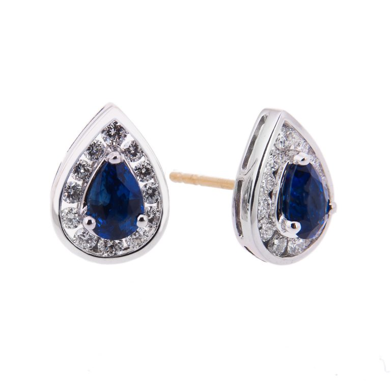 pear cut sapphire and diamond halo set stud earrings yellow H 37