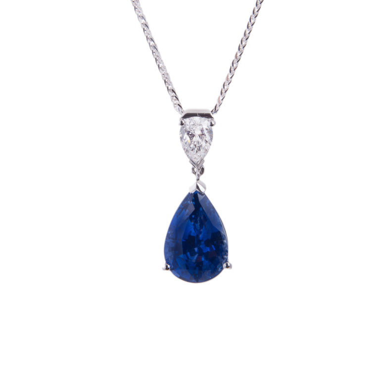 18ct white gold sapphire and diamond drop pendant