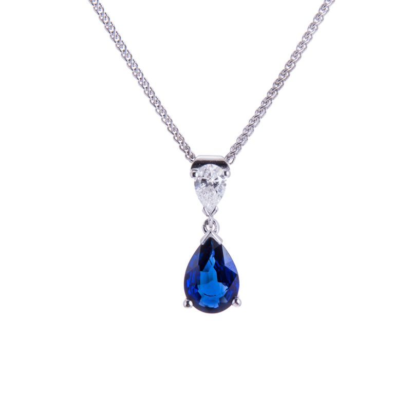 claw set 18ct white gold pear cut sapphire and diamond drop pendant and chain