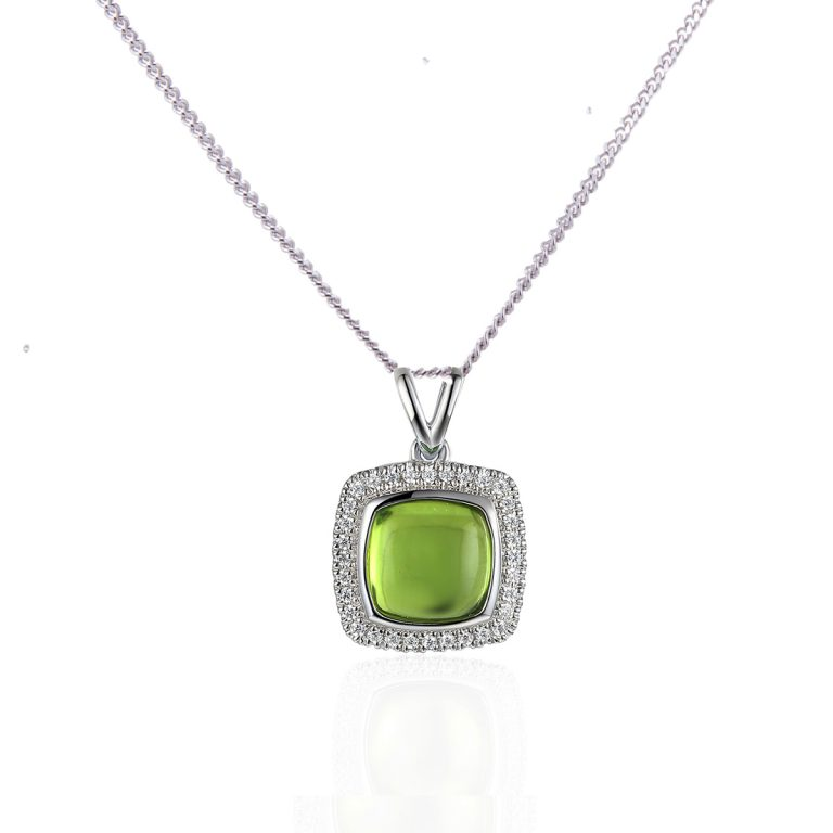 peridot and diamond pendant whire gold