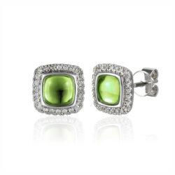 peridot cluster stud earrings white gold