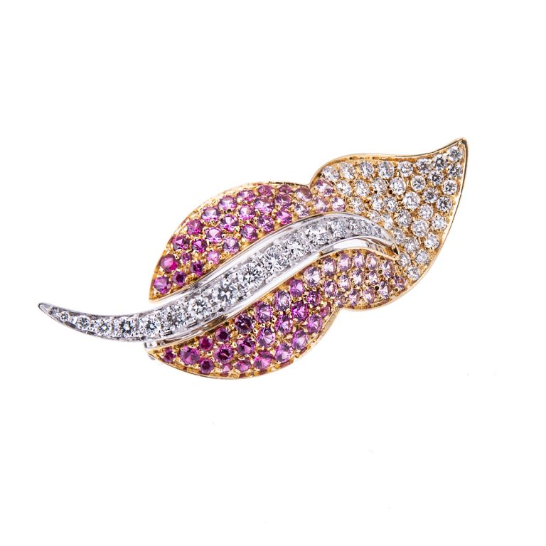 pink sapphire ruby and diamond 18ct gold brooch HA 45 (1)