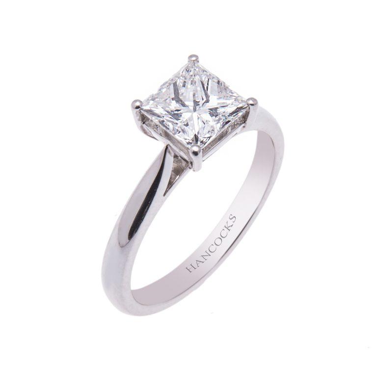 platinum 1.02ct princess cut diamond ring HE 6