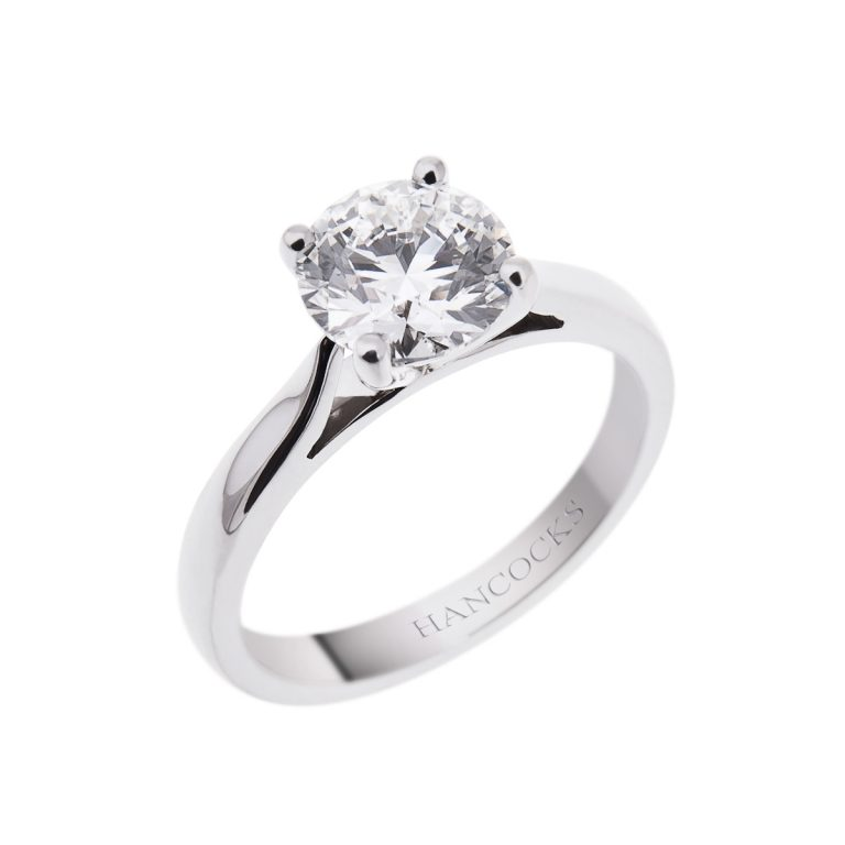 certificated diamond single stone ring in a 4-claw platinum setting
