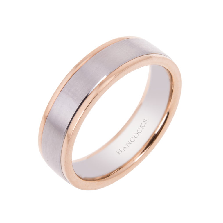 gents band with brushed platinum with 18ct rose gold edges